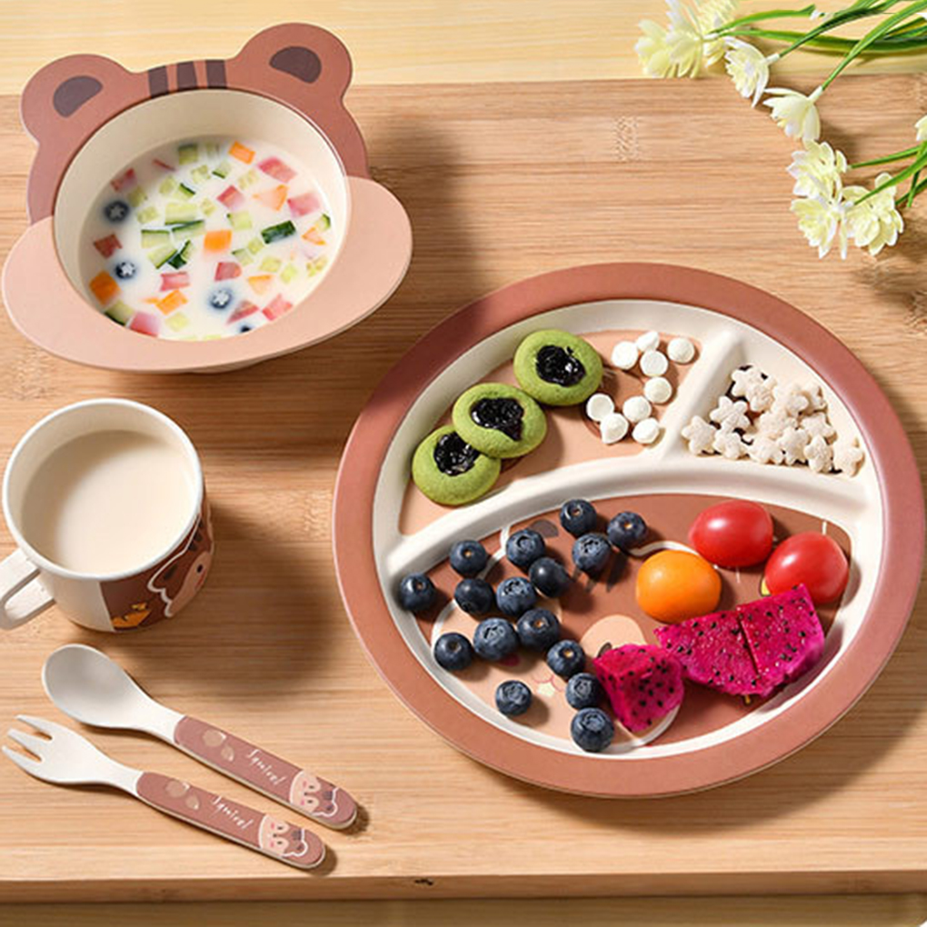 5pcs New Bamboo Fiber Children Tableware Set Baby Dinnerware Plate Dishes Bowl Cup Spoon Plate Fork Feeding Set Food Container  sc 1 st  batershow review - trafficmanager.net & 5pcs New Bamboo Fiber Children Tableware Set Baby Dinnerware Plate ...