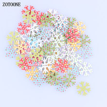 ZOTOONE Colorful Wave Point Christmas Snowflake Wooden Buttons Sewing Children Clothes Ornament DIY Scrapbooking