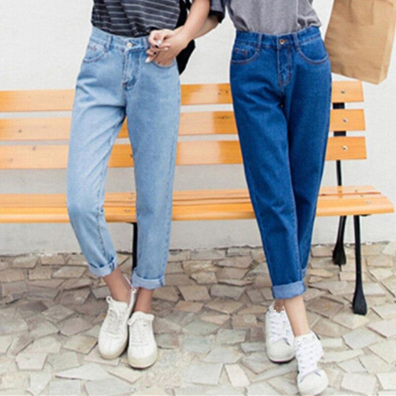 2019 Autumn Slim Jeans Woman Pencil Pants Vintage High Waist Jeans Ladies Casual Loose Solid Cowboy Long Pants Plus Size