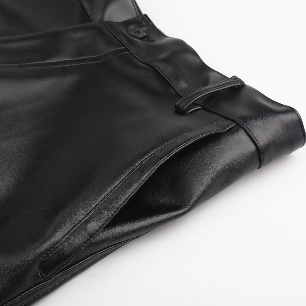 Image 5 - Thoshine Brand Summer Men Leather Pants Elastic High Waist Lightweight Casual PU Leather Trousers Thin Motor Pants Plus Size-in Leather Pants from Men's Clothing