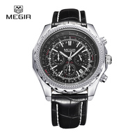 Megir Fashion Casual Stop Watches For Men Luminous Running Brand Watch For Man Leather Quartz Watch