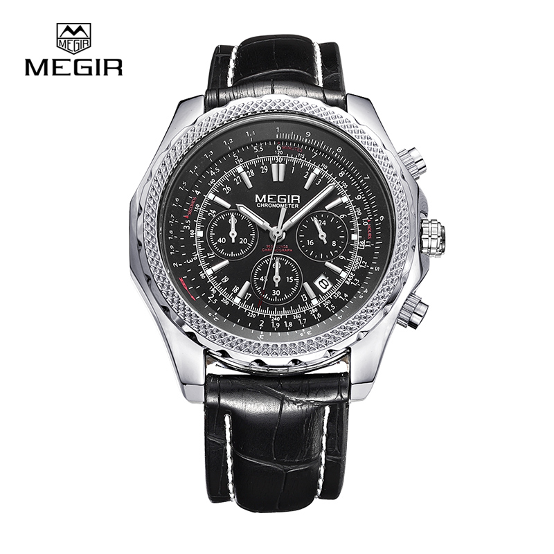 Megir fashion casual stop watches for men luminous running brand watch for man leather quartz watch male 2007 free shipping