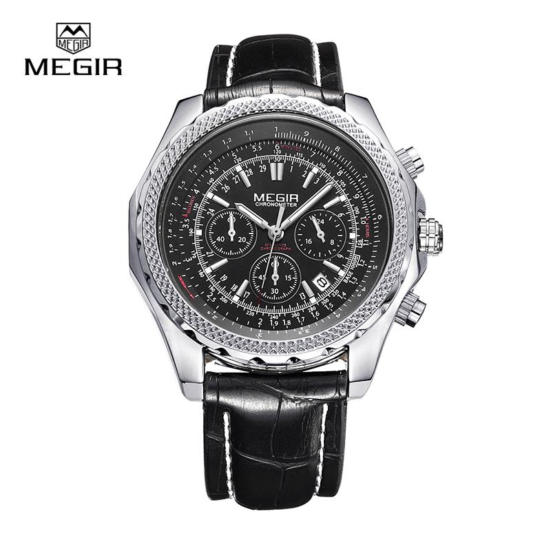 Prix pour Megir mode d'arrêt occasionnel montres pour hommes lumineuse de course marque montre pour homme en cuir quartz montre hommes 2007 livraison gratuite