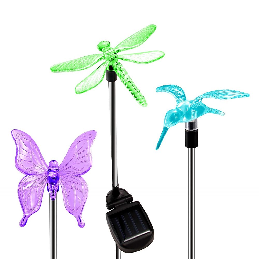 Led Solar Garden Lights RGB Bird Butterfly Dragonfly Solar Powered Pathway Lights Outdoor Landscape Path Lawn Lamp