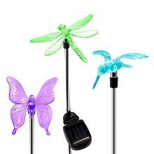 led Solar Garden Lights RGB bird Butterfly Dragonfly Solar P