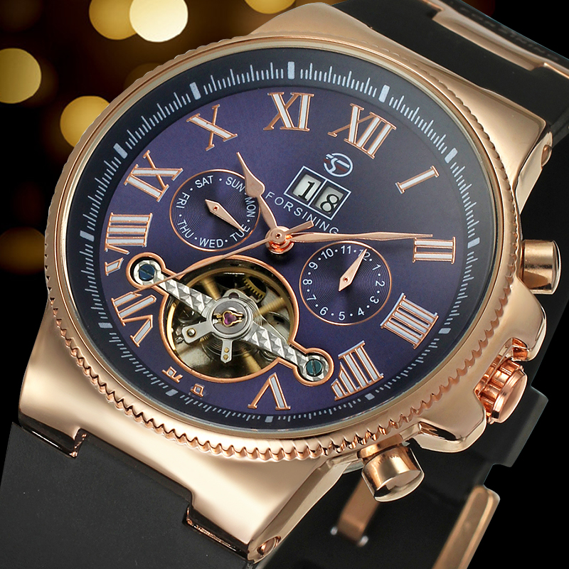 Forsining Men's Watch Automatic Dress Watches Plastic Band Alloy Case Mechanical Wristwatch Color Deep Blue Gift Box forsining date display automatic mechanical watch men business leather band watches modern gift dress classic analog clock box