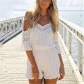 Новые Моды для Женщин 2016 Лето С Плеча Комбинезон Кружева Свободные Комбинезоны V-образным Вырезом Sexy Шифон Пляж Комбинезоны Плюс Размер 3XL