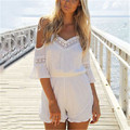 New Fashion Womens 2016 Summer Off the Shoulder Rompers Lace Loose Overalls V-Neck Sexy Chiffon Beach Jumpsuits Plus Size 3XL