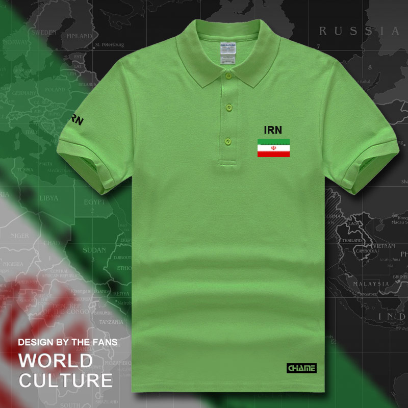 Iran Islamic polo shirts men short sleeve white brands printed for country 2017 cotton nation team flag new fashion IR tops