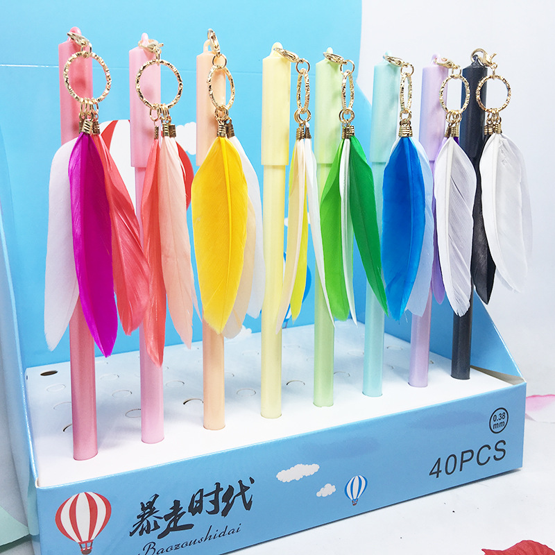 40 pcs Gel Pens rainbow Feather black colored kawaii gift gel ink pens pens for writing