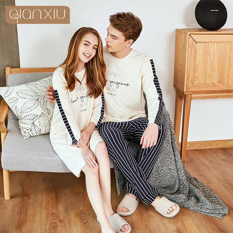 Qianxiu Pajamas For Men  Stripes Cotton Women&Men Pajama Set Short Sleeve Shorts Lounge Wear 918117