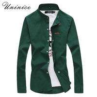 Korean Men S Fashion Collar Plus Size 5XL Shirt Solid Color Slim Long Sleeved Mandarin Collar