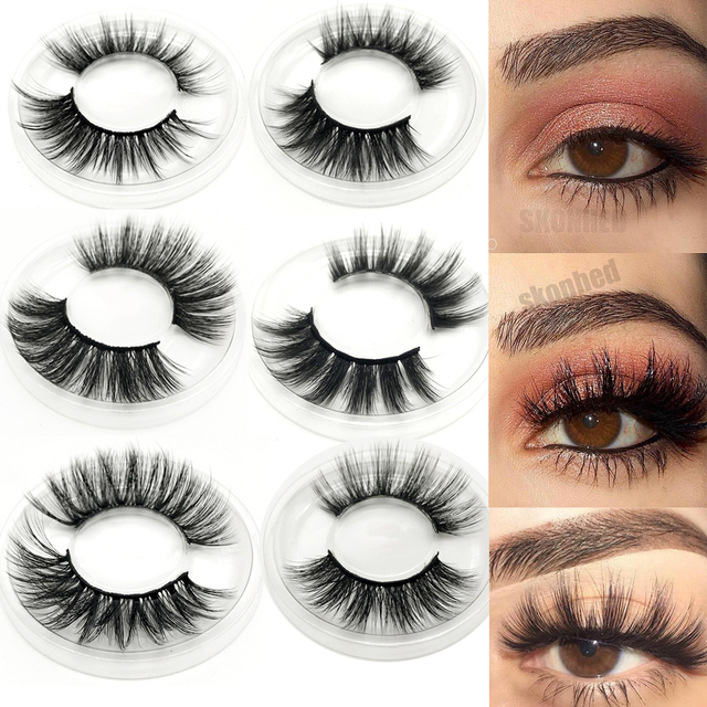 1 Pair 3D Faux Mink Hair False Eyelashes Criss-cross Feathery Wispy Lashes Natural Long Eyelashes 7 Styles Lashes Makeup Tools 1