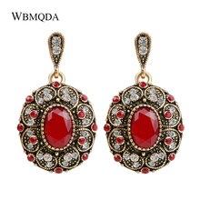 Pendiente bohemio a la moda pendientes de cristal de Color único Oro grande para mujer joyería India Vintage accesorios de boda rojos