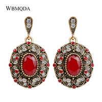 Fashion Bohemian Ohrring Einzigartige Big Goldfarbe Kristall Ohrringe Für Frauen Indian Jewery Vintage Red Hochzeit Zubehör