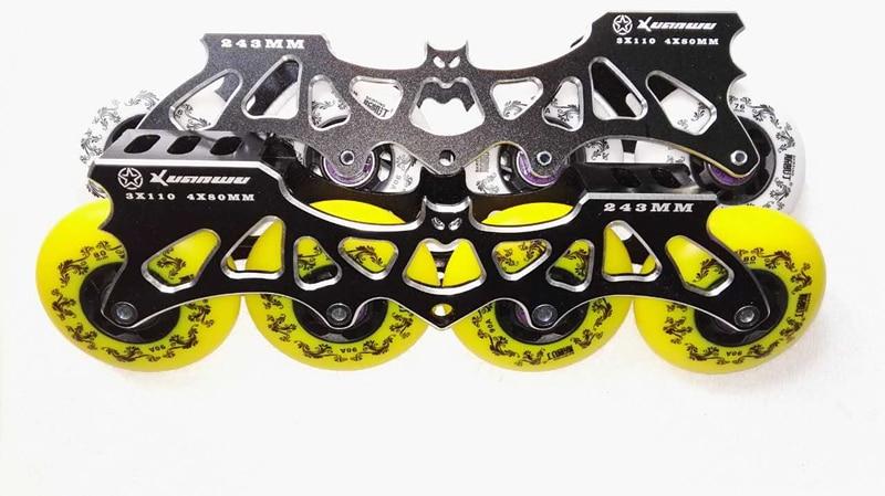 4x80mm / 3x110mm 243mm Inline Skates Frame + 90A PU Skating Wheels + Chrome ILQ-9 608 Bearings + Skate Spacer Bolts Combination