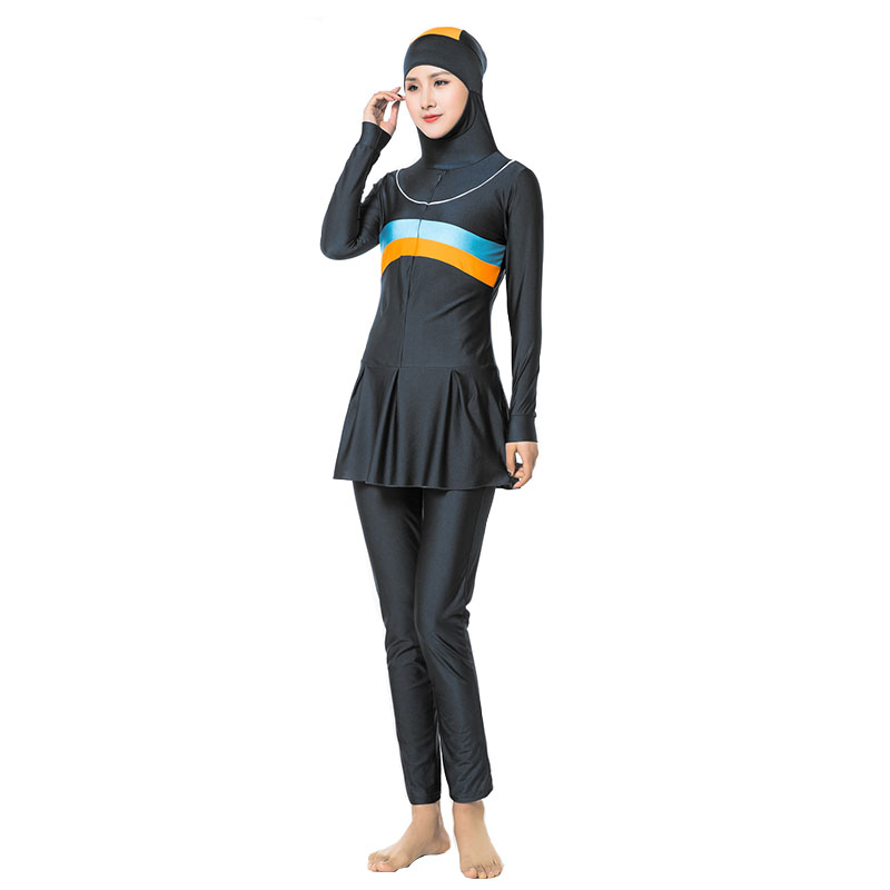 2019 Modest Muslim Swimwear Islamic Swimsuit Hijab Swimwear Full Coverage Swimwear Muslim Swimming Beachwear Swim Suit S-4XL