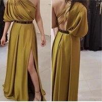 Новое поступление одно плечо вечернее платье 2019 халат de soiree арабский золотистое платье Формальное вечернее платье es длинный халат soiree длин