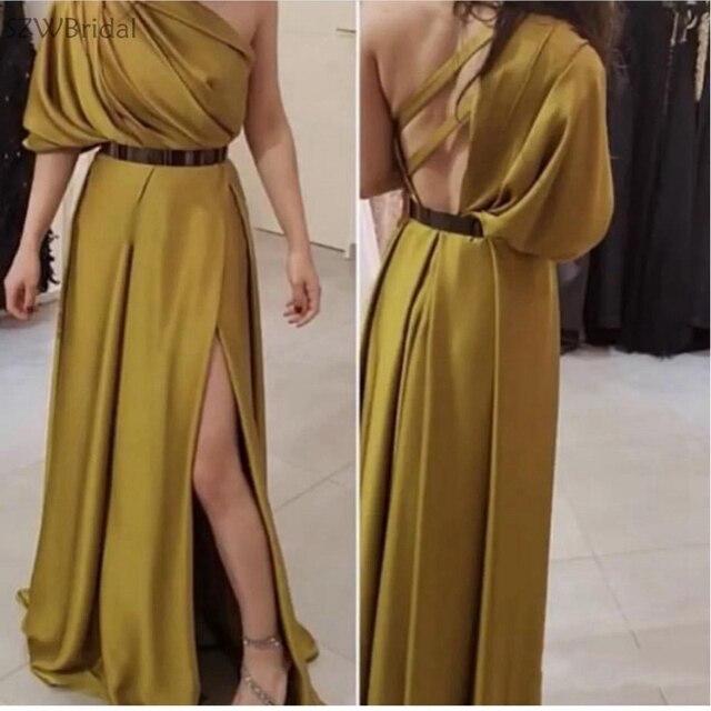 1432f06801 Nueva llegada vestido de noche un hombro 2019 velada árabe oro Formal  vestidos túnica larga