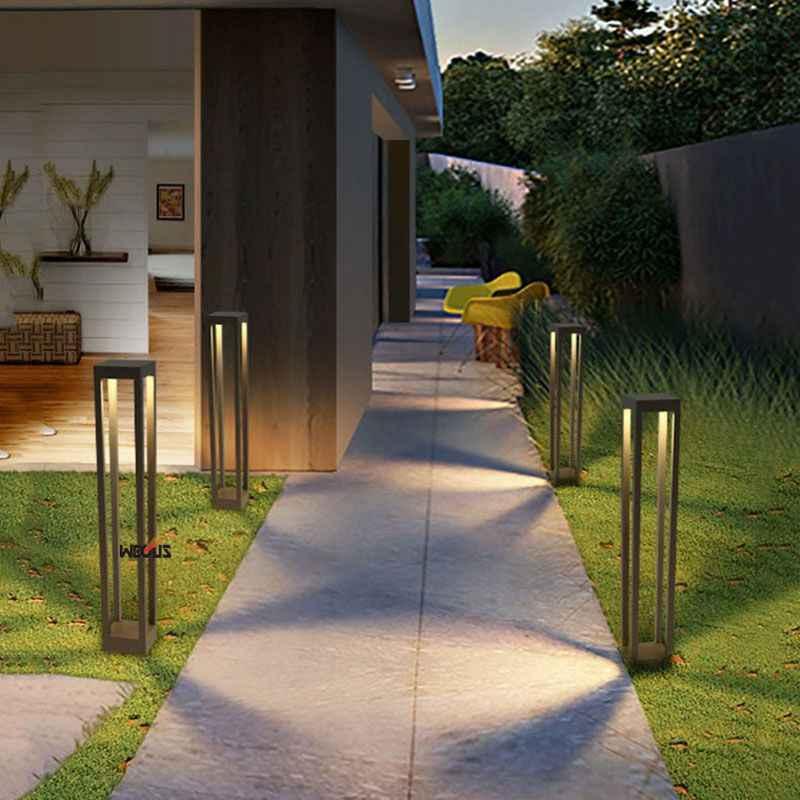 (Wecus) Aluminium Vierkante Gazon Lamp, Led Moderne Eenvoudige Tuinverlichting, Outdoor Landschap Park Verlichting