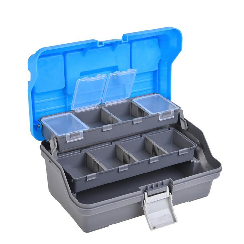 f77e5c3a473d 3 Layers ABS Fishing Box Portable Blue Cover Multifunctional Storage Case Fishing  Tackle Boxes Pesca Handle