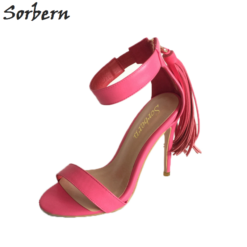 Sorbern Pink Tassel One Strap Sandals Women Simple Style Sandalia De Salto Shoes Women Summer High Heels Stilettos Plus Size simple women s plus size stripe bikini set