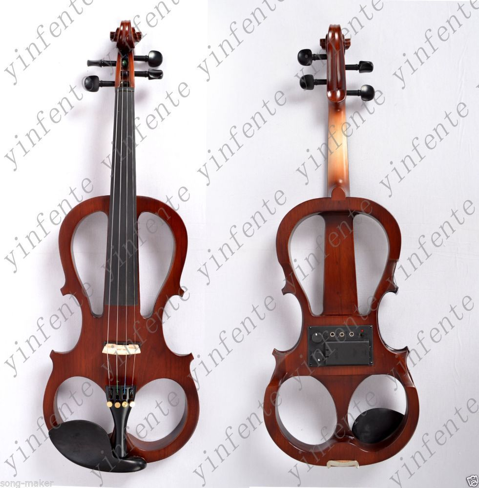 one red  4  -String 4/4 New Electric Acoustic Violin    #5-2514# ican make any color NEED REST and 4 STRING one red 4 string 4 4 violin electric violin acoustic violin maple wood spruce wood big jack color