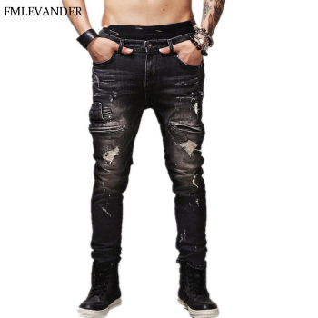 2020 New Fashion Men Jeans European High Street Motorcycle Biker Hip Hop
