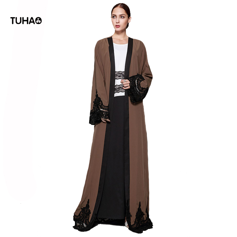 TUHAO 5XL Plus Size Cardigan Lace Applique Kimono Style Robe Femme Dark Brown Windbreaker Maxi Long Trench Coat For Women TB1543