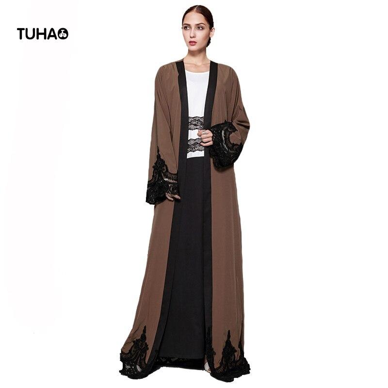 8ce8c396fa TUHAO 5XL cárdigan de talla grande con apliques de encaje Kimono estilo  bata mujer cazadora marrón oscuro Maxi gabardina larga para mujer TB1543