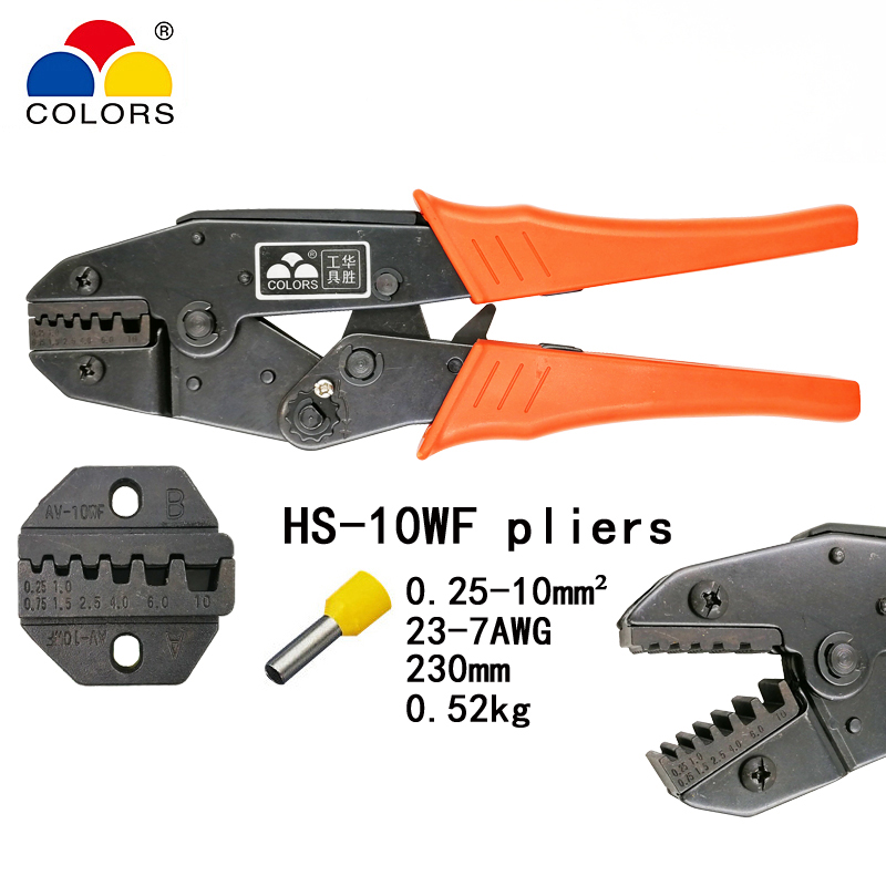 1Pcs Non-insulated-terminals-Ratchet-Terminal-Crimping plier AWG20-8 0.5-16mm2