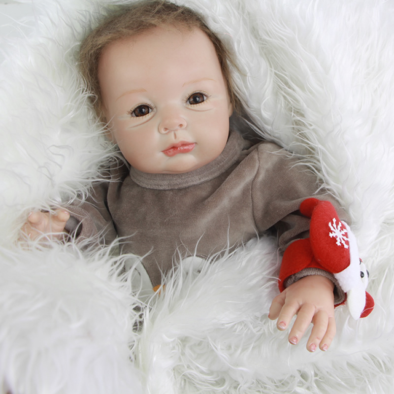 Collectible 22 Inch Reborn Lifelike Babies Newborn Boy Baby Doll Silicone Fashion Toy With Penguin Romper Kids Birthday Gift
