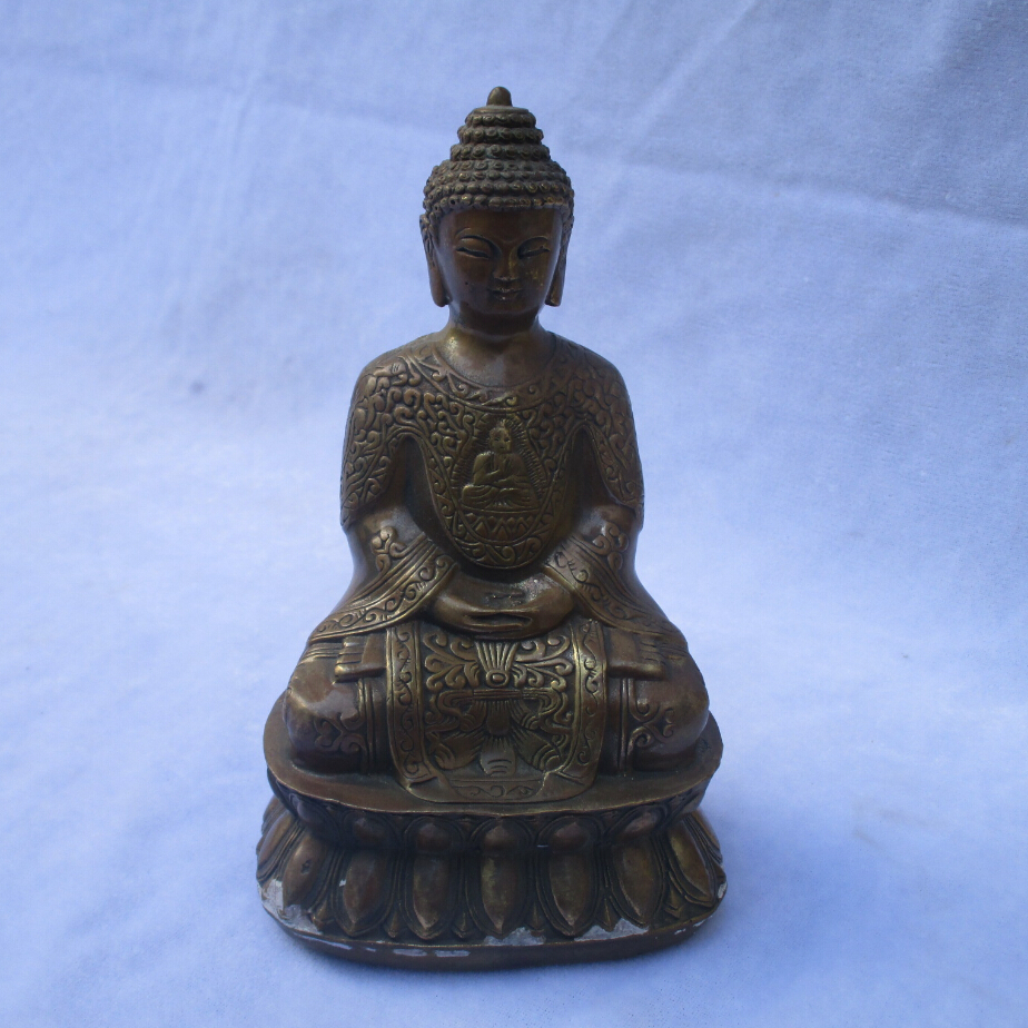 Collectible Chinese Decorated Old Copper Carved Buddha Sculpture /Antique Metal Buddha Statue 02