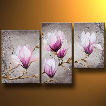 Delicate Magnolia Flower Modern Canvas Art Wall Decor Floral Oil Painting Wall Art