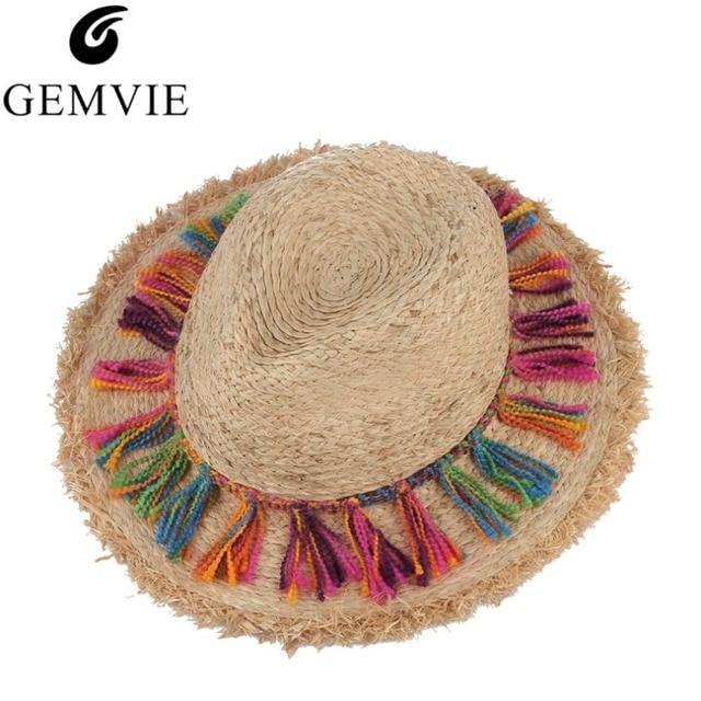 Bohemia étnica playa sombreros para damas borla cuerda Gran Sol ala del Sombrero  Floppy paja rafia b097c6c7331
