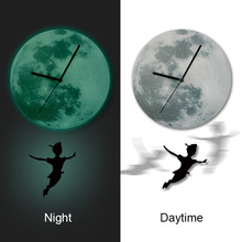 3D Peter Pan Boy Girl Boy Child Room Luminous LED pendulum wall clock Acrylic Moon stickers bedroom wall stickers