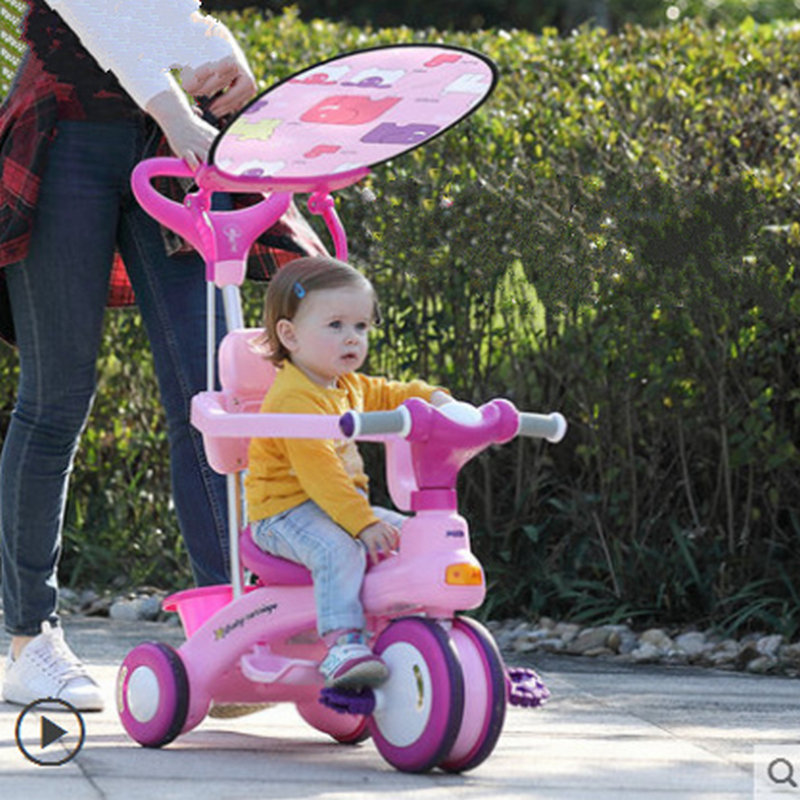 2 in 1 Kids Tricycle Scooter with Canopy, Twins Tricycle Scooter can spilt, Musical Tricycle for Two Kids, Double Kids Ride Car