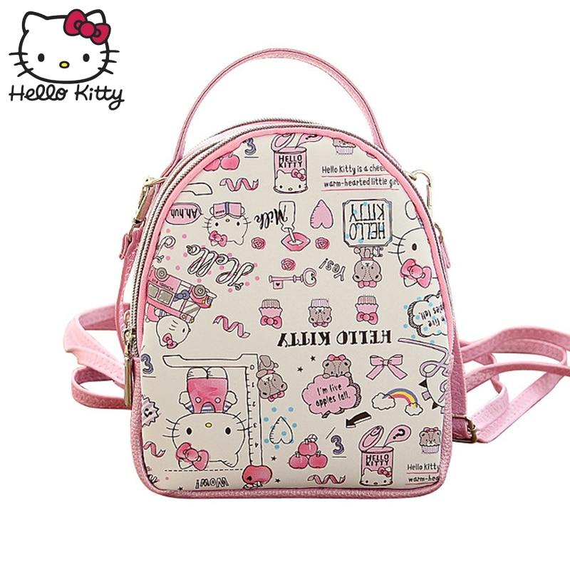 Hello Kitty Cute Cartoon Bag Hellokitty Fashion Women Single Shoulder PU Leather Cute Cartoon Pink Kids SchoolBag Plush Gift