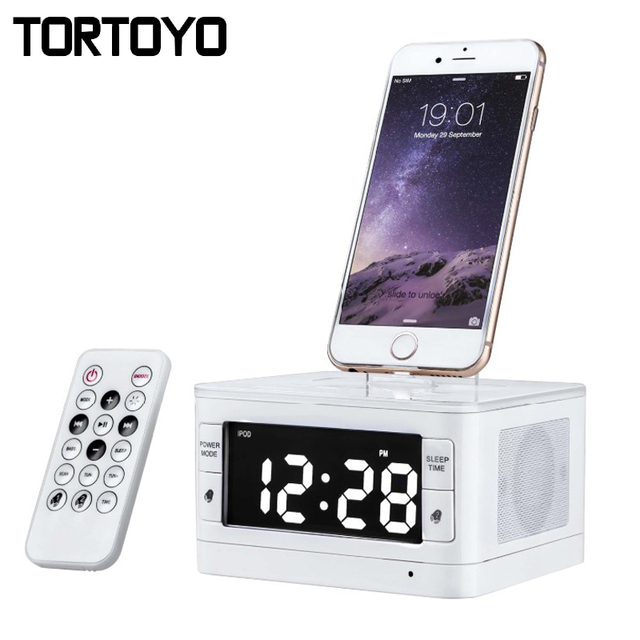 buy popular 86630 52b90 US $75.1 |T7 Wireless Bluetooth Speaker 8 Pin Charger Dock Station FM Radio  Alarm Clock PC Phone Speakers for iPhone 5 5S SE 6 6S 7 Plus-in Portable ...