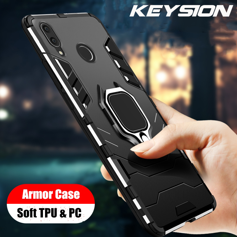 KEYSION For Samsung Galaxy M20 M30 Case Ring Holder Armor Soft Silicone Bumper Phone Finger shockproof Fundas