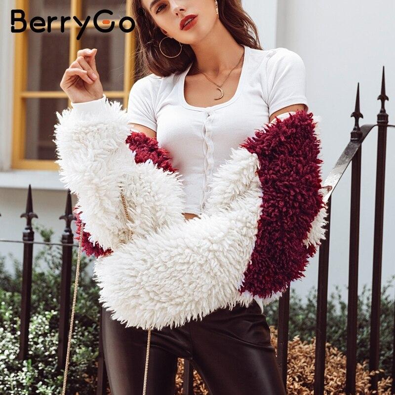 Taille Zipper 2018 Épais Femmes Rouge La Streetwear Red Casual Chaud Femelle Berrygo Faux Fourrure Automne Plus D'hiver White Manteau Pardessus Splice xvTq0n64pw