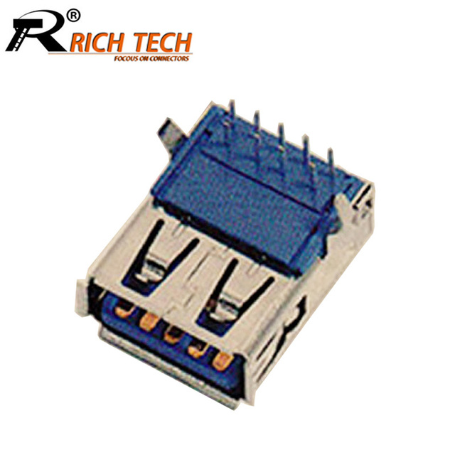 100 teile/los USB3.0 AF 90 Grad Leiterplattenmontage Anschluss Typ A weibliche Jack Buchse Rechtwinklig w/Lockige Mund USB PCB Adapter