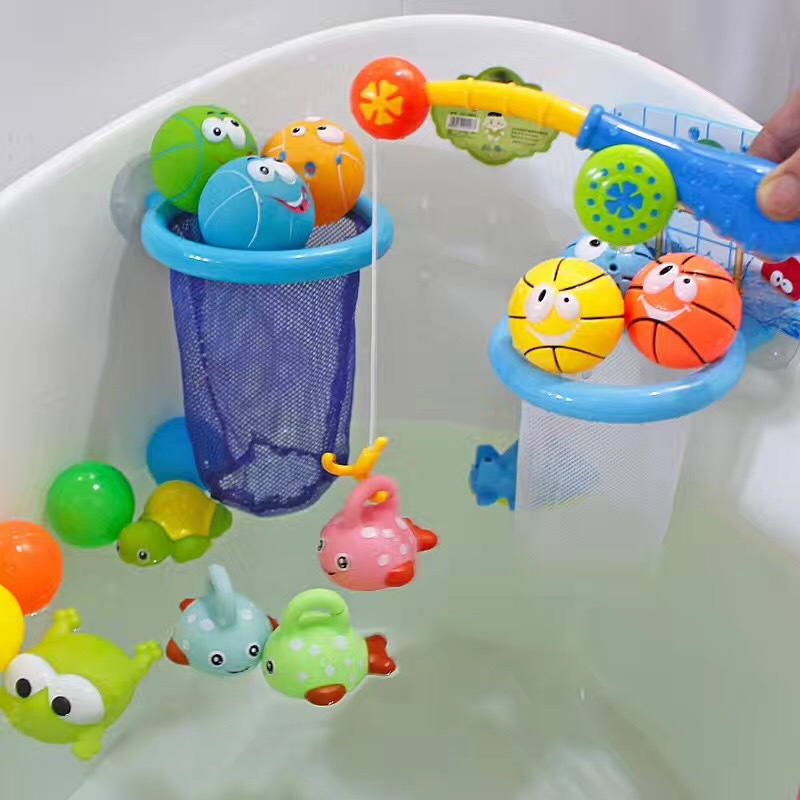Children's Plastic Water Fishing Toy Pinch Water Spray Hook Four Sets Baby Classic Toy Sets
