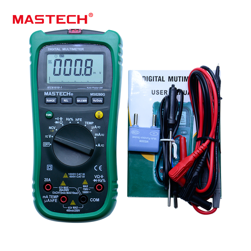 MASTECH MS8260G Auto Range Digital Multimeter ohm voltage and current Capacitance Frequency Temperature Meter with NCV auto range handheld 3 3 4 digital multimeter mastech ms8239c ac dc voltage current capacitance frequency temperature tester
