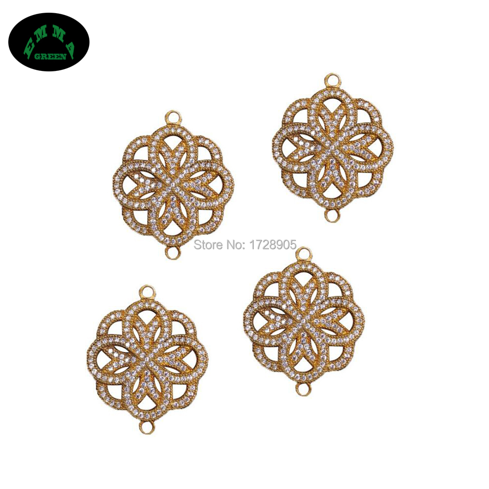 Zircon Connector Charms Pendant Copper Clover Flower Earring Making Charms 10 pcs 30 mm for DIY Jewelry Making Accessories in Charms from Jewelry Accessories