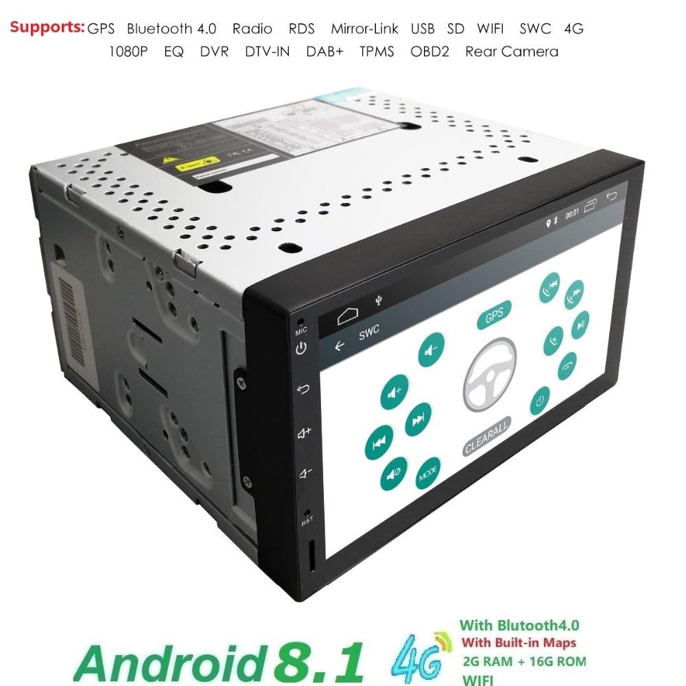 Android 8.1 Double Din voiture stéréo Radio GPS Wifi 4G OBD2 HD miroir lien BT numérique voiture tv tuner dab boîte voiture moniteur de direction-whe