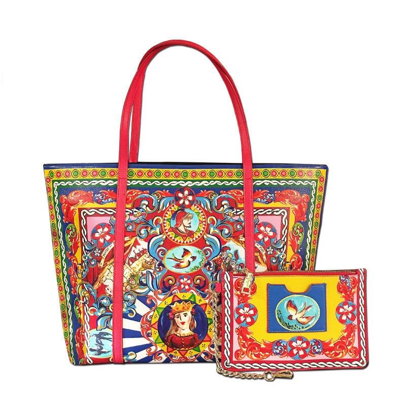 Marque de luxe Vintage impression haute qualité en cuir sac fourre-tout femmes Shopper sac Style ethnique sac à main sac à main dame épaule sacs à bandoulière