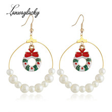 10pairs/lot Fashion Women Accessories Drop Earrings Santa Claus Tree Elk Pattern Dangle Earrings For Christmas New Year Party christmas tree drop earrings