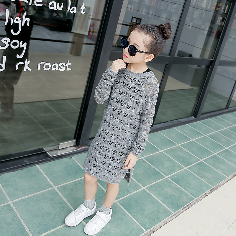 Female child medium long font b sweater b font 2016 autumn child cutout knitted o neck