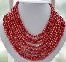 Offre spéciale en gros 8 brins 6 MM ronde rouge artificielle corail perle collier mode bijoux cristal femmes livraison gratuite
